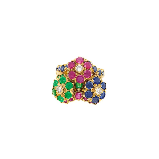 Gold, Gem-Set and Diamond Floret Ring, G. Nardi