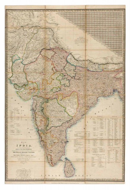 [INDIA-MAP]  WYLD, JAMES (publisher). Map of India, Constructed with great care and research from all the latest authorities and intended more particularly to facilitate a reference to the Civil and Military Stations.