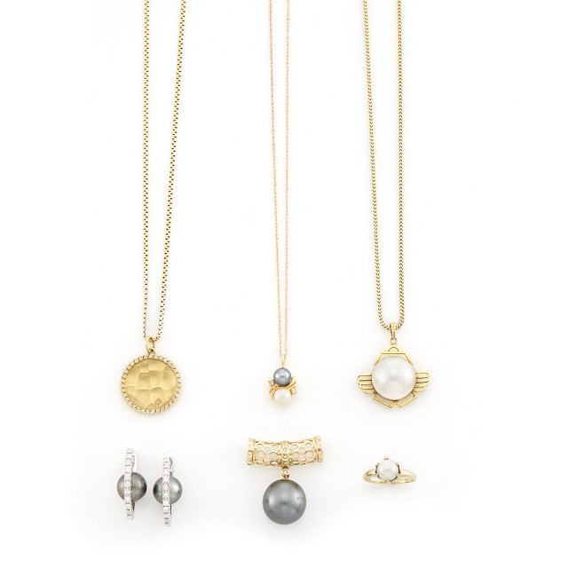 Group of Yellow and White Gold, Cultured Pearl and Diamond Jewelry