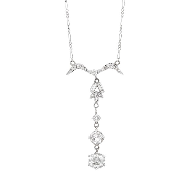 White Gold and Diamond Pendant-Necklace