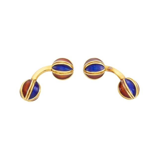 Attributed to Verdura Pair of Gold and Enamel Cufflinks, France