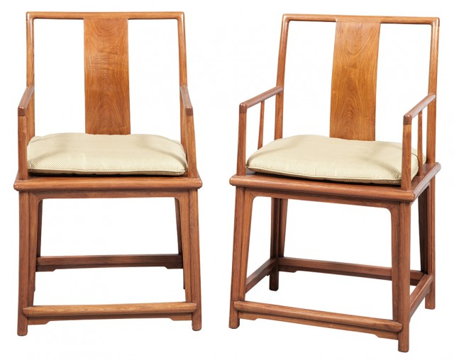 Set of Four Chinese Huanghuali Armchairs