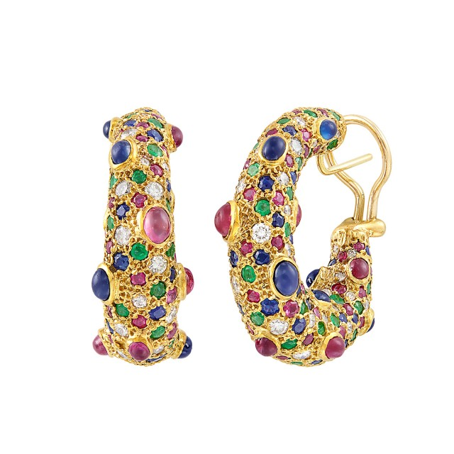 Pair of Gold, Gem-Set and Diamond Hoop Earrings