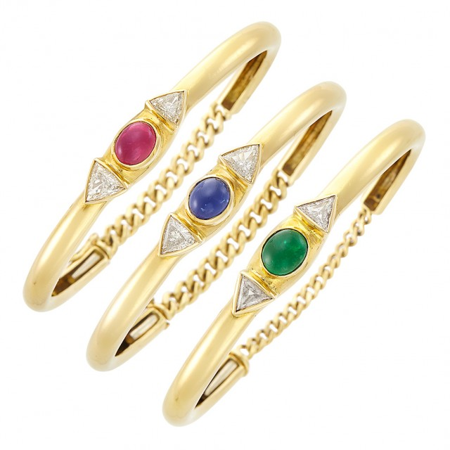 Three Gold, Cabochon Colored Stone and Diamond Bangle Bracelets
