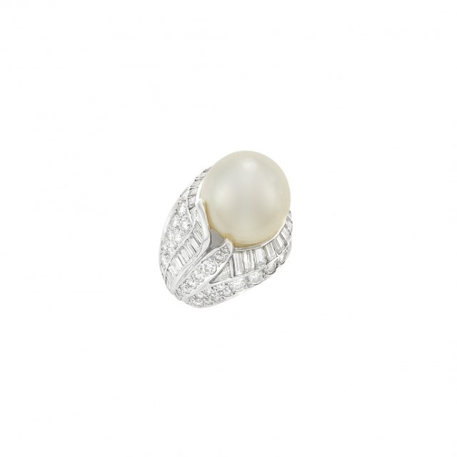 Platinum, South Sea Cultured Pearl and Diamond Ring