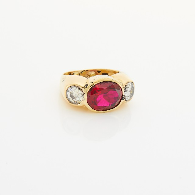 Gold, Synthetic Ruby and Diamond Ring