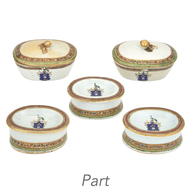Set of Four Chinese Export Armorial Salt Cellars and a Pair of Chinese...