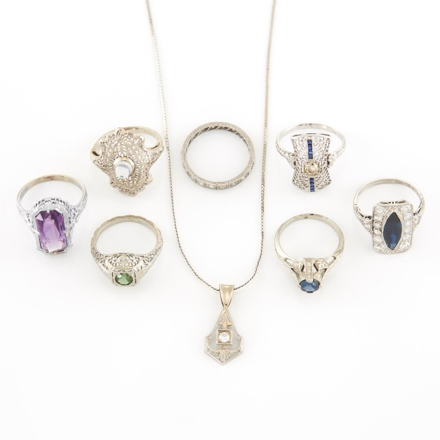 White Gold, Platinum, Diamond and Gem-Set Pendant with Chain Necklace and...