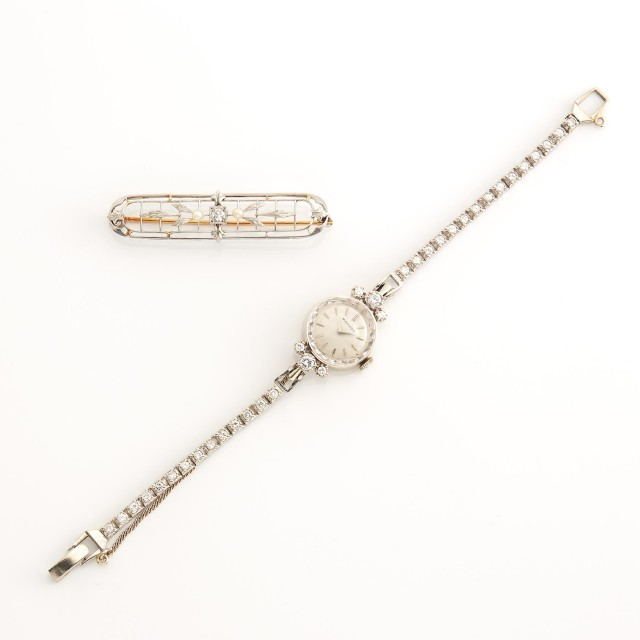 White Gold and Diamond Wristwatch and Diamond and Pearl Bar Pin