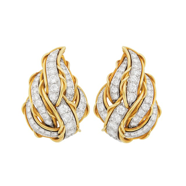 Pair of Gold, Platinum and Diamond Earclips, France