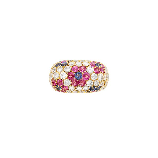 Gold, Sapphire, Ruby and Diamond Floret Ring