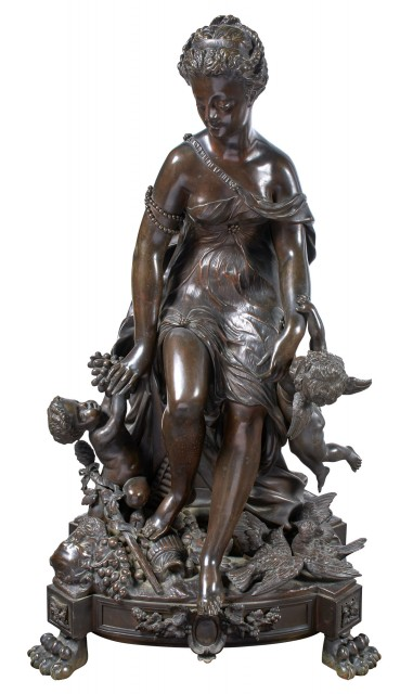 French Bronze Group of a Seated Classical Maiden with a Bacchant and Cupid