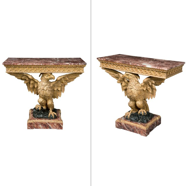 Pair of George II Style Giltwood Console Tables in the style of William Kent