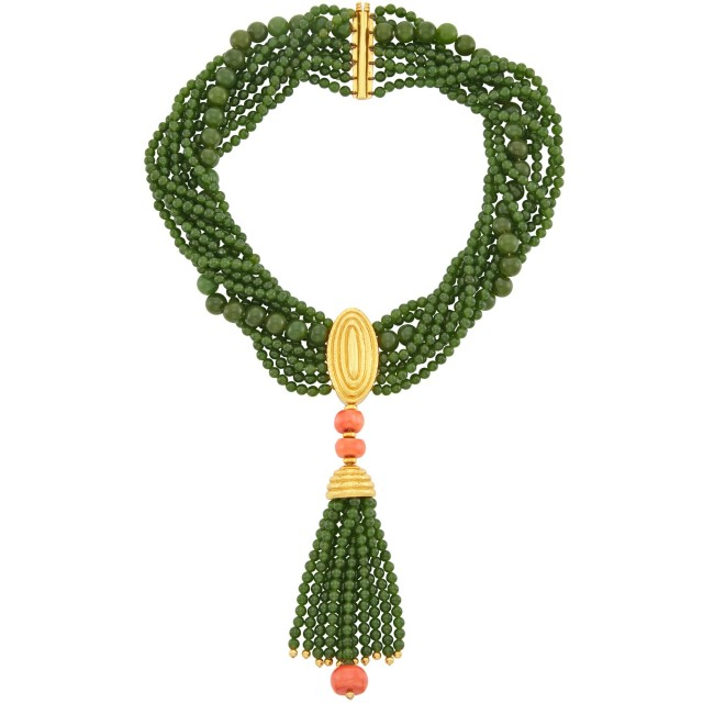 Nine Strand Nephrite Bead, Hammered Gold and Coral Bead Torsade Tassel Necklace