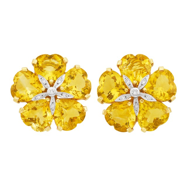 Pair of Two-Color Gold, Citrine and Diamond Flower Earclips