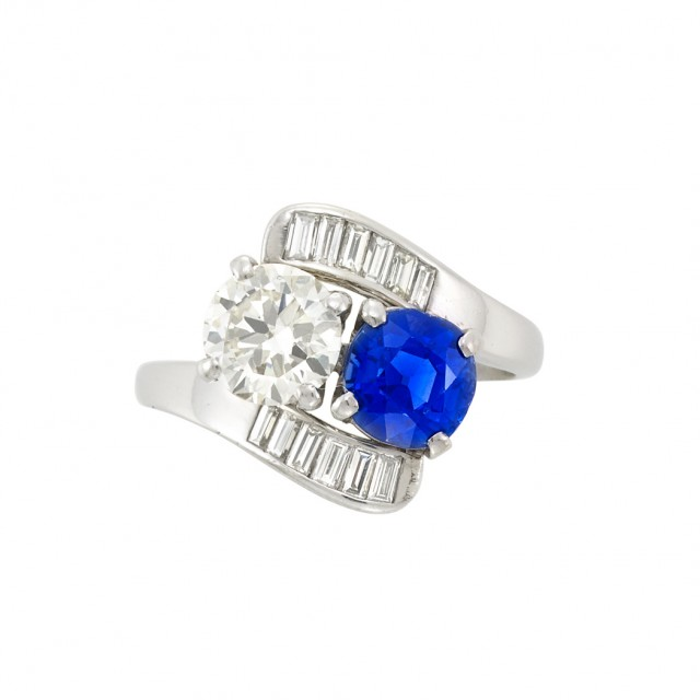 Platinum, Diamond and Sapphire Crossover Ring