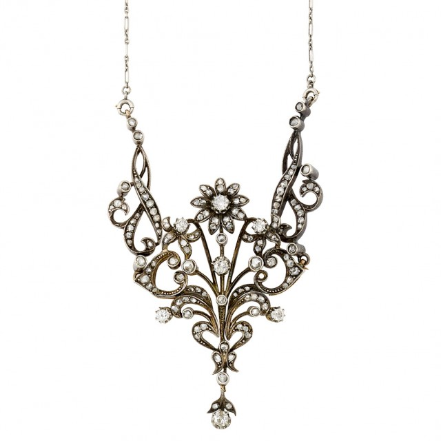 Antique Silver-Topped Gold, Platinum and Diamond Pendant-Brooch Necklace