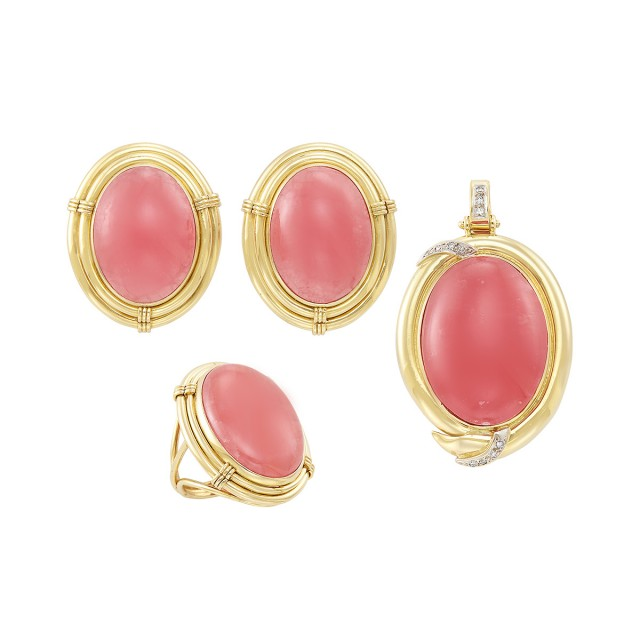 Pair of Gold, Cabochon Pink Rhodochrosite and Diamond Earrings, Ring, and Pendant