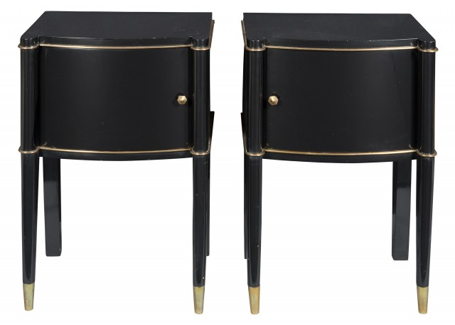 Pair of De Coene Frères Art Deco Parcel Gilt Black Lacquered Bedside Cabinets