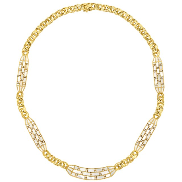 Gold, Mother-of-Pearl and Diamond Curb Link Chain Necklace