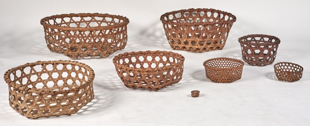 Group of Eight Woven Splint Cheese Baskets