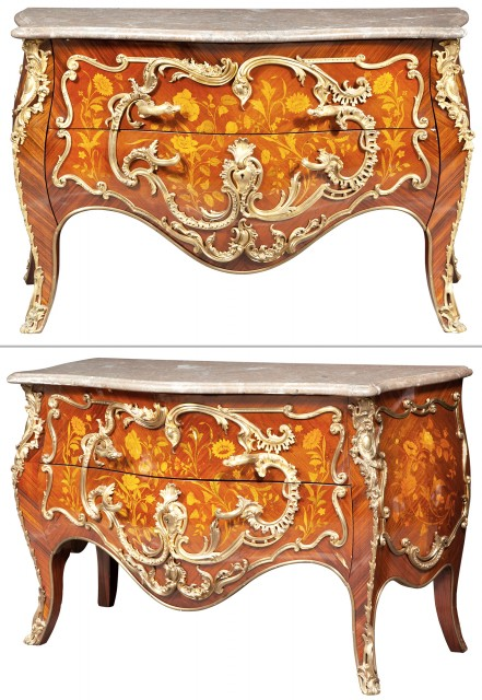 Pair of French Gilt-Bronze-Mounted Kingwood Marquetry Commodes