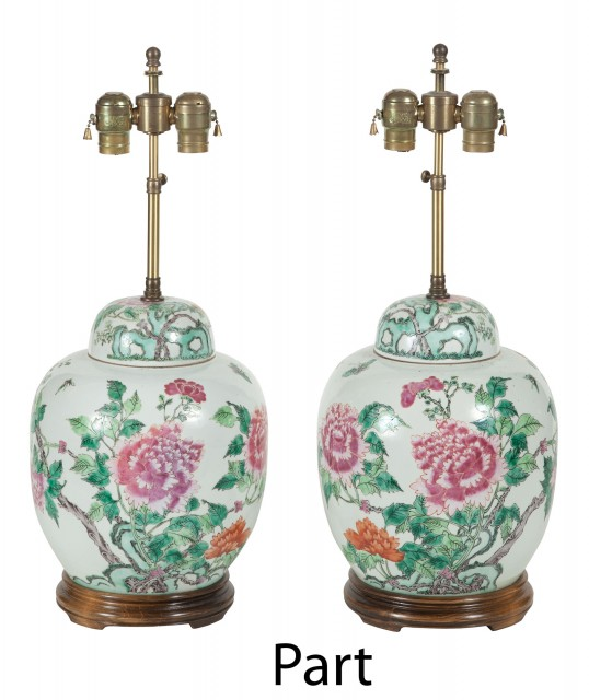 Two Pairs of Chinese Porcelain Lamps; Together with an Assembled Pair of Chinese Porcelain Lamps