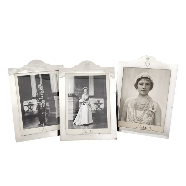 Three English Sterling Silver Royal Presentation Frames