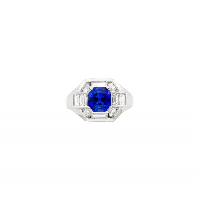 Platinum, Kashmir Sapphire and Diamond Ring