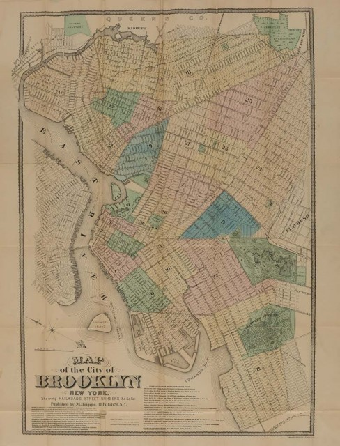 [BROOKLYN]  Three antiquarian items Comprising DRIPPS, MATTHEW. Map of the City of Brooklyn New York. Showing Railroads, Street Numbers...