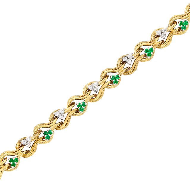 Gold, Diamond and Emerald Bracelet