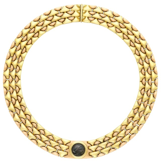 Two Color Gold and Ancient Coin Necklace, Bulgari