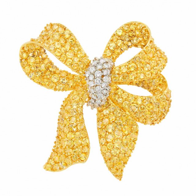 Gold, Yellow Sapphire and Diamond Bow Clip-Brooch