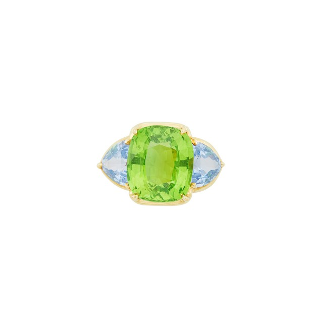 Gold, Peridot and Blue Spinel Ring