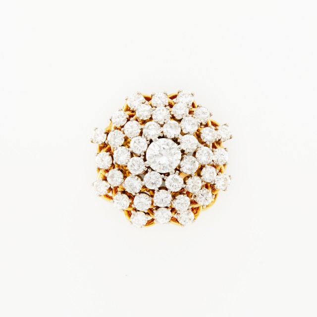 Two-Color Gold and Diamond Cluster Ring