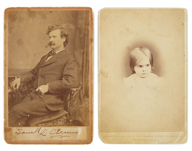 [CLEMENS, SAMUEL L. (=TWAIN, MARK)]  Group of cabinet cards relating to Samuel Clemens\' Missouri family, two bearing inscriptions from Twain.