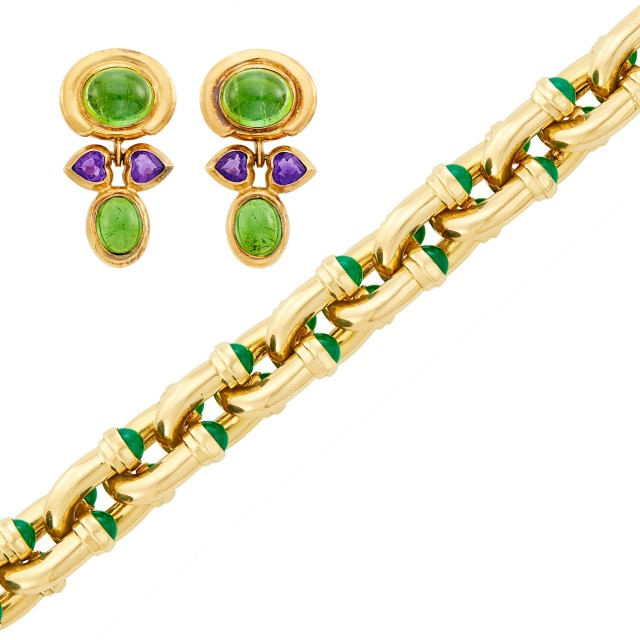 Gold and Green Onyx Bracelet and Pair of Gold, Cabochon Tourmaline and Amethyst Pendant-Earrings