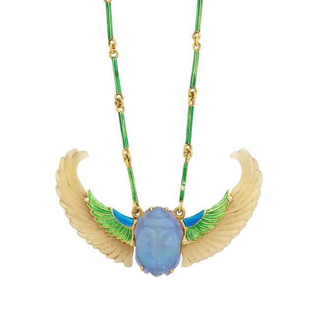 Egyptian Revival Gold, Carved Opal and Enamel Winged Scarab Pendant Necklace, René Lalique