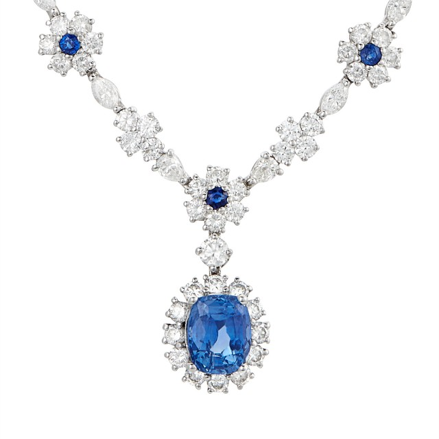 Platinum, Sapphire and Diamond Necklace