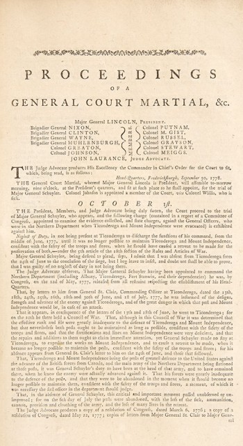 [AMERICAN REVOLUTION - SCHUYLER, PHILIP] Proceedings of a General Court Martial, held at Major General Lincolns Quarters, near...