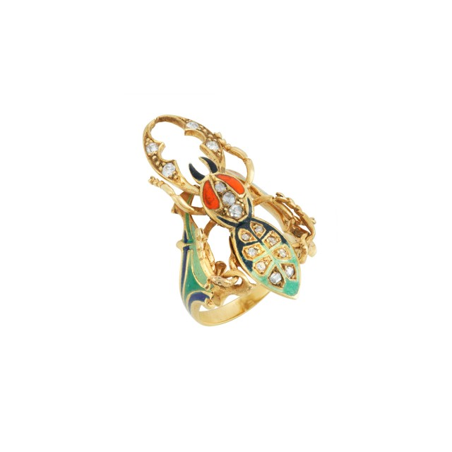 Gold, Enamel and Diamond Beetle Ring