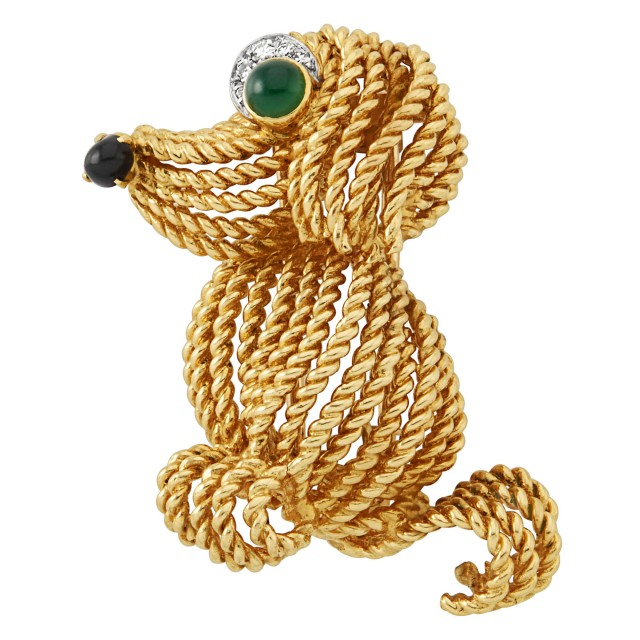 Gold, Platinum and Gem-Set Dog Clip-Brooch, Boucheron, Paris