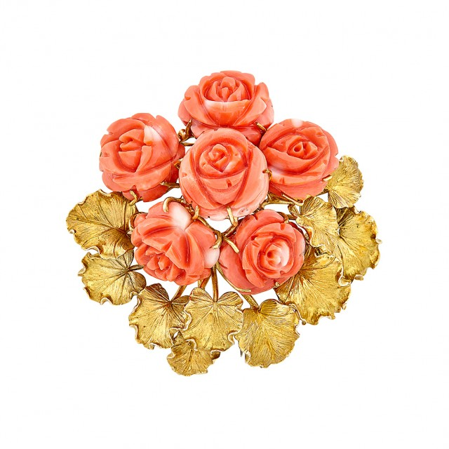 Gold and Carved Coral Flower Clip-Brooch, David Webb