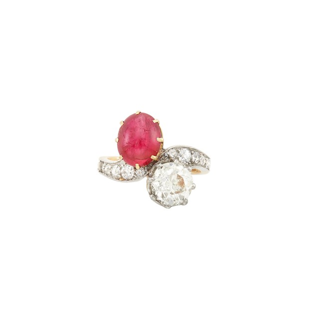 Gold, Platinum, Diamond and Cabochon Ruby Crossover Ring