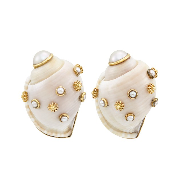 Pair of Gold, Shell and Cultured Pearl Earclips, Maz