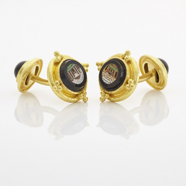 Pair of Gold, Micromosaic and Black Onyx Cufflinks, Elizabeth Locke