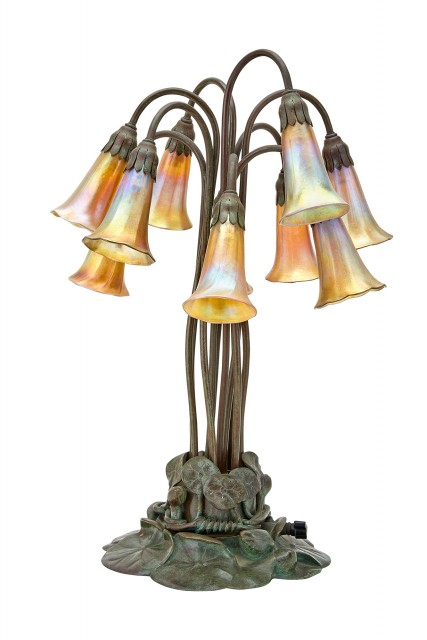 Tiffany Studio Green Patinated Bronze and Hand-Blown Gold Favrile Glass Ten-Light Pond Lily Lamp
