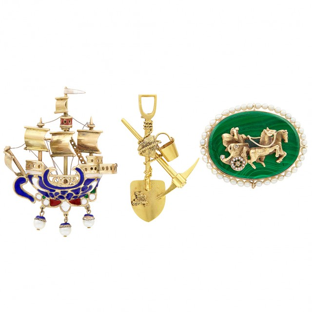 Three Gold, Low Karat Gold, Malachite, Cultured Pearl, Enamel and Diamond Carriage, Galleon & Gold Miners Brooches