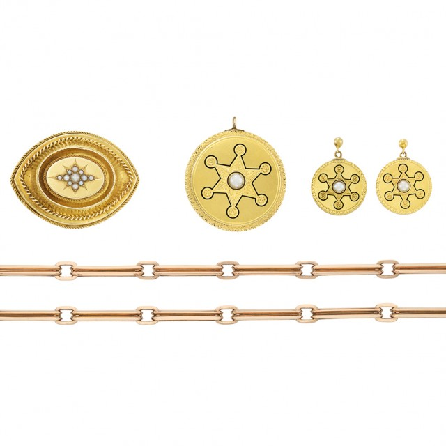 Rose Gold Link Chain and Pair of Antique Gold, Enamel and Split Pearl Earrings and Two Brooches