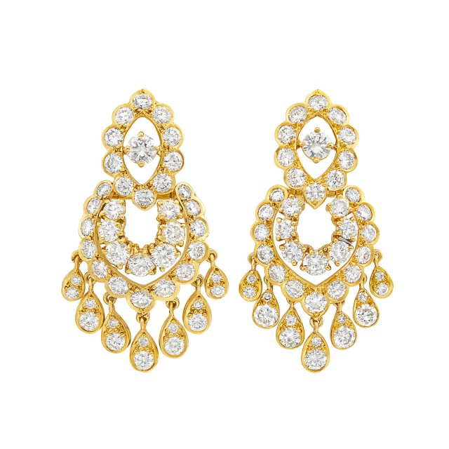Pair of Gold and Diamond Pendant-Earclips, Van Cleef & Arpels